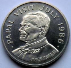 Moneda > 5dólares, 1986 - Santa Lucía  (Visit of pope John Paul II) - obverse