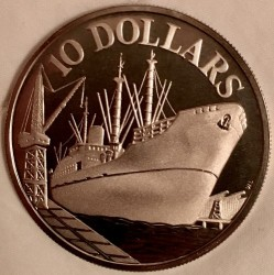Moneta > 10dollari, 1976-1977 - Singapore  (10° anniversario dell'indipendenza) - reverse