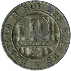 Minca > 10 centimes, 1894-1901 - Belgicko  (Legend in French - 'DES BELGES') - obverse
