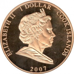Moneda > 1 dólar, 2007 - Islas Cook  (60th Anniversary - Wedding of Queen Elizabeth II and Prince Philip /Elizabeth in green suit/) - obverse