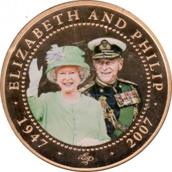 Moneda > 1 dólar, 2007 - Islas Cook  (60th Anniversary - Wedding of Queen Elizabeth II and Prince Philip /Elizabeth in green suit/) - reverse