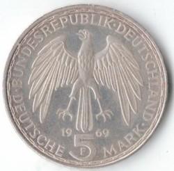 Moneda > 5marcos, 1969 - Alemania  (375º Aniversario - Muerte de Gerardus Mercator) - reverse
