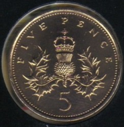 Монета > 5пенсів, 1982-1984 - Велика Британія  - reverse