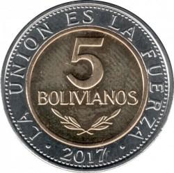 Coin > 5bolivianos, 2017 - Bolivia  - obverse
