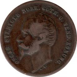 Mynt > 2ore, 1856-1858 - Sverige  - obverse