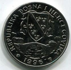Νόμισμα > 500Δηνάρια, 1996 - Βοσνία Ερζεγοβίνη  (XXVI summer Olympic Games, Atlanta 1996 - Fencing) - obverse