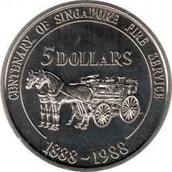 Pièce > 5dollars, 1988 - Singapour  (100th Anniversary of Singapore Fire Brigade) - reverse