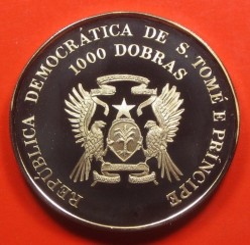 Moneda > 1000dobras, 1994 - Santo Tomé y Príncipe  (Copa de la FIFA 1994 / dos jugadores de fútbol/) - reverse