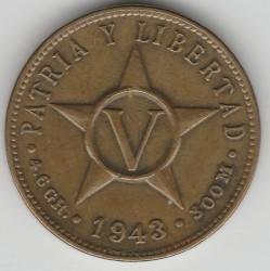 Moneda > 5centavos, 1943 - Cuba  - reverse