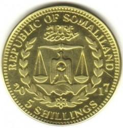 Moneta > 5scellini, 2017 - Somaliland  (Scimmie - Scimpanzé comune (Pan troglodytes)) - obverse