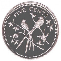 """錢幣 > 5分, 1974 - 貝里斯  (Birds. Mintmark """"FM"""") - reverse"""