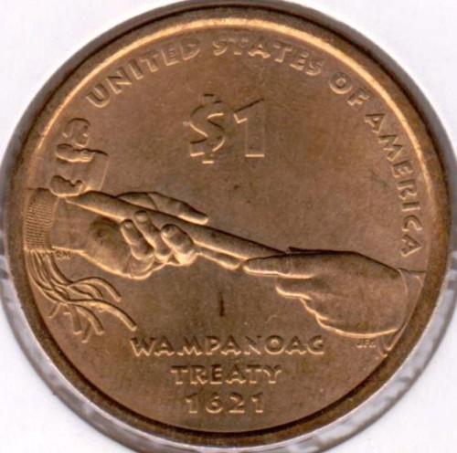 UNC US 2011 Sacagawea Native American Wampanoag Treaty dollar $1 coin