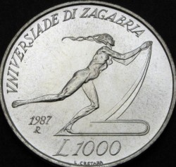 Moneta > 1000lire, 1987 - San Marino  (XIV Universiade estiva, Zagabria 1987) - obverse