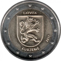Pièce > 2 euros, 2017 - Lettonie  (Historical Regions of Latvia - Courland) - reverse