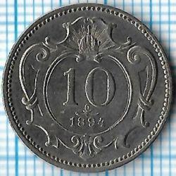 Moneta > 10hellers, 1894 - Austria  - obverse