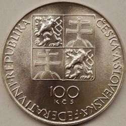 Moneta > 100corone, 1991 - Cecoslovacchia  (200° anniversario  - Morte di Wolfgang Amadeus Mozart ) - obverse