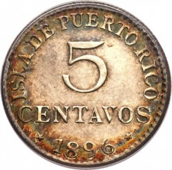 Монета > 5сентавос, 1896 - Пуерто Рико  - reverse
