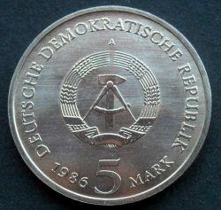 Moneda > 5marcos, 1986 - Alemania - RDA  (Nuevo Palacio de Potsdam) - obverse