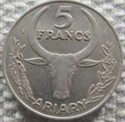 Coin > 5francs, 1966-1989 - Madagascar  - reverse