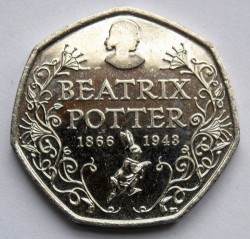 Moneta > 50pensų, 2016 - Jungtinė Karalystė  (150th Anniversary - Birth of Beatrix Potter (at the bottom of a small rabbit)) - reverse