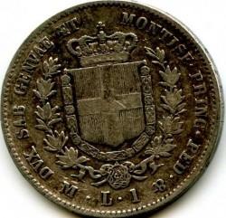 Монета > 1ліра, 1850-1860 - Сардинія  - reverse