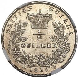 Кованица > ½guilder, 1836 - Британска Гвајана  - reverse