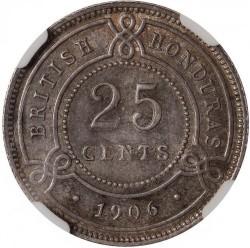 Coin > 25cents, 1906-1907 - British Honduras  - reverse