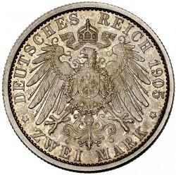Moneda > 2marcos, 1905 - Alemán (Imperio)  (25º Aniversario - Proclamación de Charles Gonthier /borde grueso/) - reverse