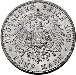 Moneda > 5marcos, 1903 - Alemán (Imperio)  (Boda de Guillermo y Carolina) - reverse