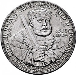 Moneda > 5marcos, 1908 - Alemán (Imperio)  (350º Aniversario - Universidad de Jena) - obverse