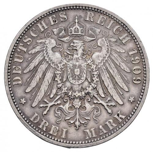 3 Mark 1909 Karl Günther Von Schwarzburg Sondershausen Deutsches