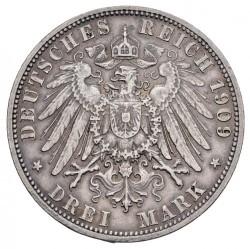 Moneda > 3marcos, 1909 - Alemán (Imperio)  (Muerte de Charles Gonthier) - reverse