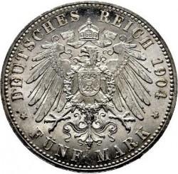 Moneda > 5marcos, 1904 - Alemán (Imperio)  (400º Aniversario - Nacimiento de Felipe I) - reverse