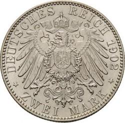 Moneda > 2marcos, 1902 - Alemán (Imperio)  (Muerte de Alberto de Sajonia) - reverse