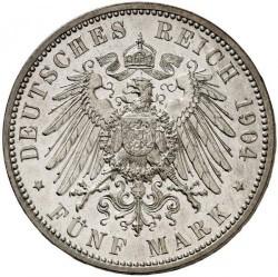 Moneda > 5marcos, 1904 - Alemán (Imperio)  (Muerte de Jorge de Sajonia) - reverse