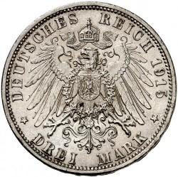 """Moneda > 3marcos, 1915 - Alemán (Imperio)  (Ernesto Augusto Boda y Ascensión /sin """"U. LÜNEB"""" en el anverso/) - reverse"""