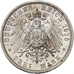 """Moneda > 3marcos, 1915 - Alemán (Imperio)  (Ernesto Augusto Boda y Ascensión /""""U. LÜNEB"""" en el anverso/) - reverse"""