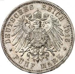 """Moneda > 5marcos, 1915 - Alemán (Imperio)  (Ernesto Augusto Boda y Ascensión /sin """"U. LÜNEB"""" en el anverso/) - reverse"""