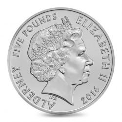 Monedă > 5lire, 2016 - Alderney  (50th Anniversary - FIFA World Cup 1966) - obverse