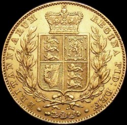 Coin > 1 pound (sovereign), 1838-1874 - United Kingdom  - reverse