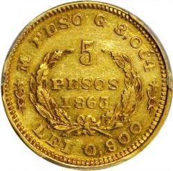Moneda > 5pesos, 1863 - Colòmbia  - reverse