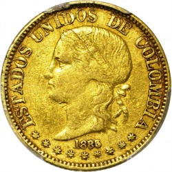 Coin > 5 pesos, 1885 - Colombia  - obverse