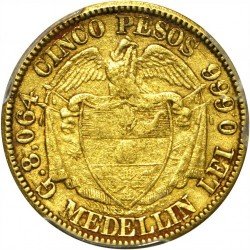 Coin > 5 pesos, 1885 - Colombia  - reverse