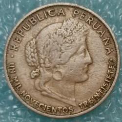 Moneda > 5centavos, 1937 - Perú  (UN MIL NOVECIENTOS TREINTISIETE) - obverse