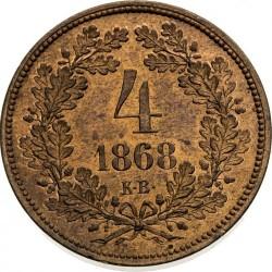 Moeda > 4krajcar, 1868 - Hungria  - reverse