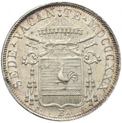 Монета > 30байокко, 1830 - Папська область  (Герб на аверсі) - obverse