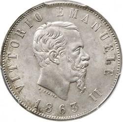 Moneta > 2liros, 1863 - Italija  (Nominalas reverse) - obverse