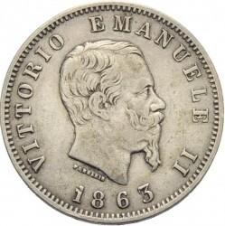 Монета > 1ліра, 1863 - Італія  (Номінал на реверсі) - obverse