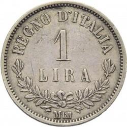 Монета > 1ліра, 1863 - Італія  (Номінал на реверсі) - reverse