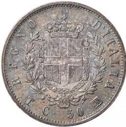 Монета > 50чентезимо, 1863 - Італія  (Щит на реверсі) - reverse
